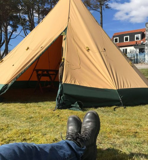 tält i solen